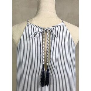 Minkpink White and Blue Striped Summer Dress Sz S